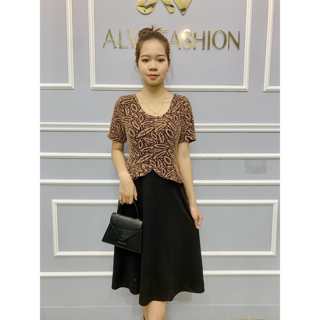 Đầm thời trang trung niên U 50 , U 60 cao cấp ALVA thiết kế sang trọng , chất liệu co dãn, có đủ size từ 40 - 70 kg
