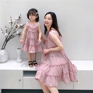 HÀNG CAO CẤP - Váy hồng đôi mẹ và bé MB1