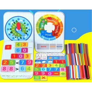 Đồ chơi tổng hợp bé học giờ, thời tiết, mùa và làm toán hộp thiếc