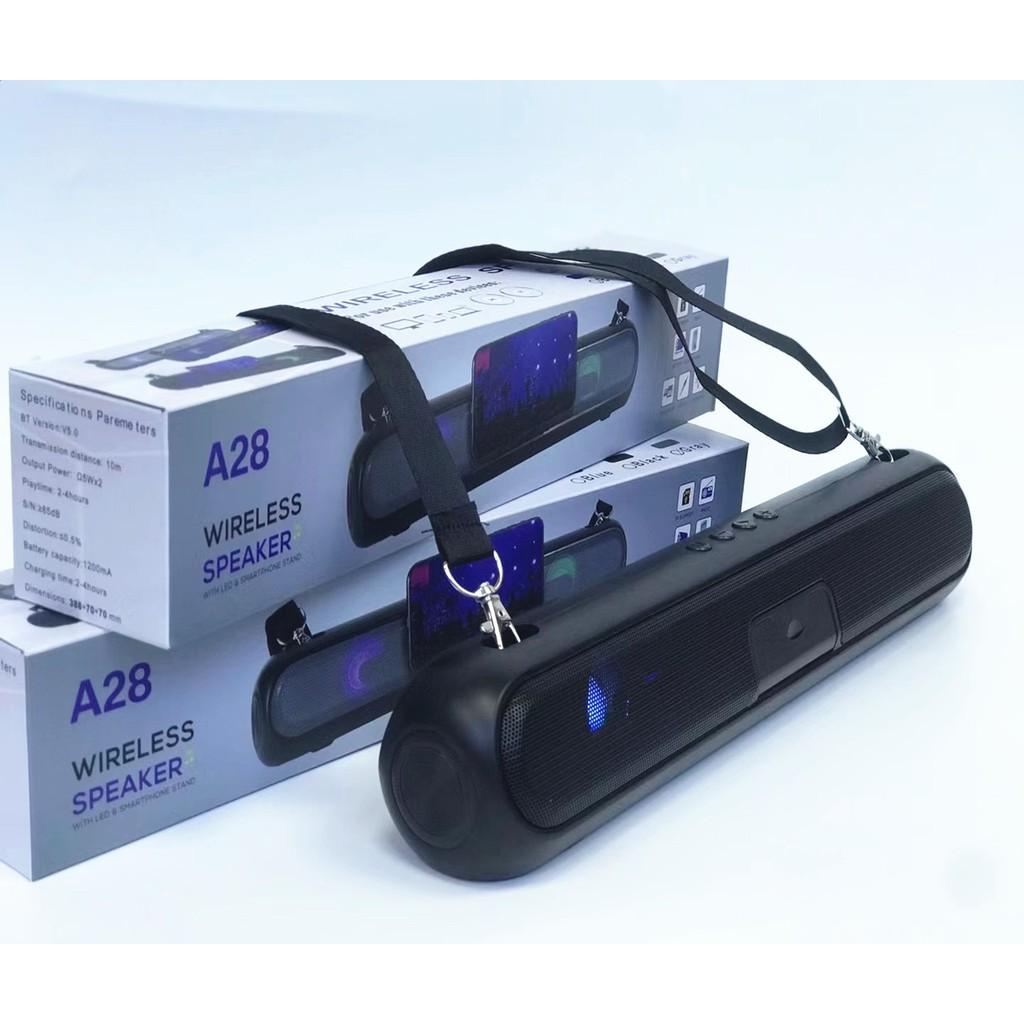 Loa Bluetooth A28,mẫu mới có led âm thanh sống động, hỗ trợ usb và khe cắm  thẻ nhớ, bảo hành 12 tháng - Loa Bluetooth