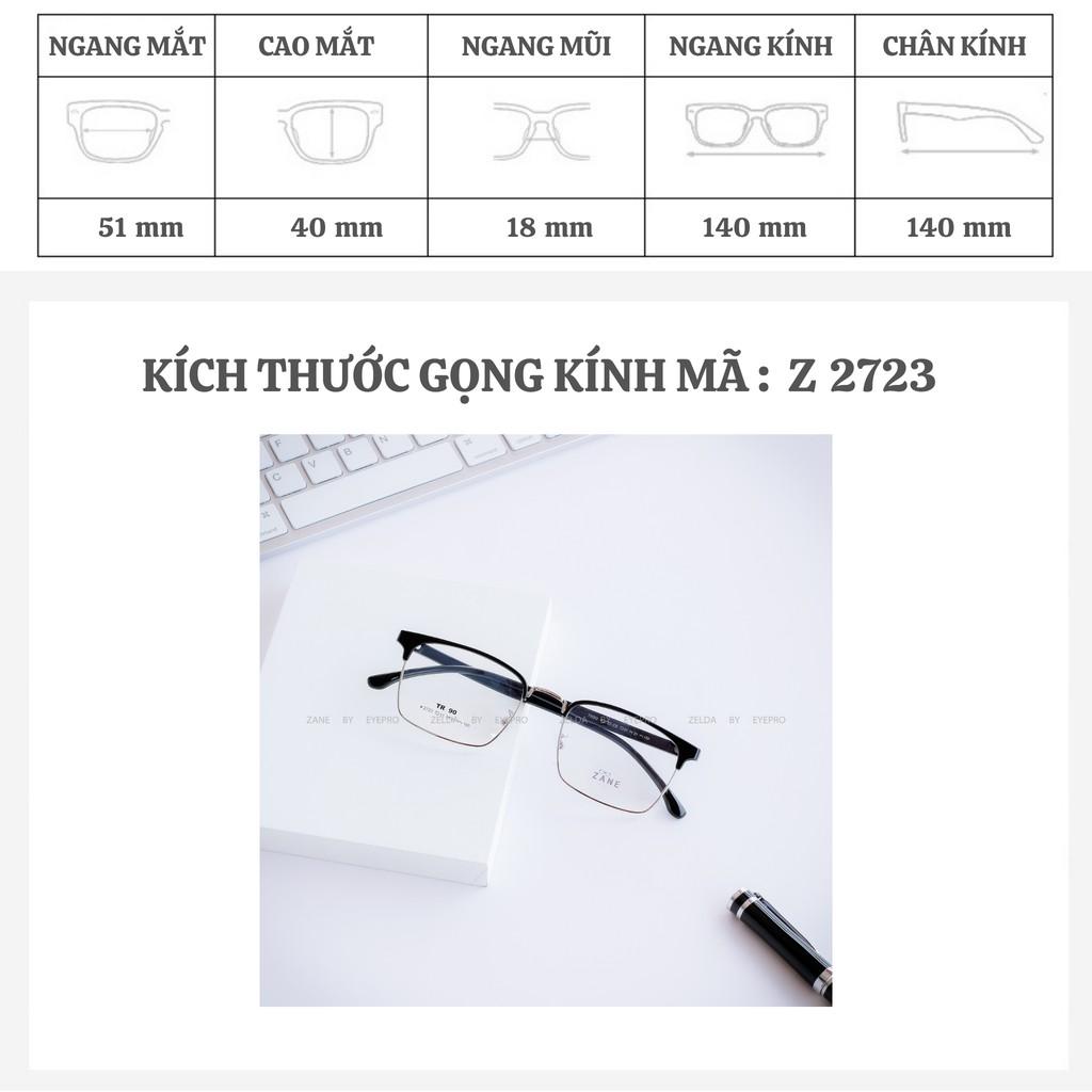 [LẮP SẴN CẬN] – Gọng kính mắt vuông, kính nhựa dẻo cho nam dáng CLUBMASTER Z2723