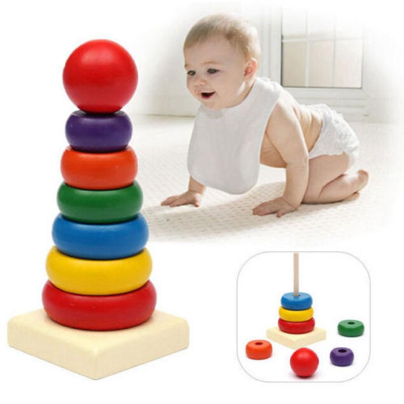 Baby Wooden Stacking Stack Up Rainbow Tower Ring Educational Toy