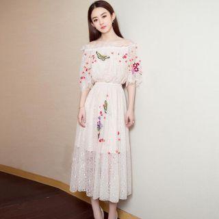 Đầm ren công chúa thêu hoa Triệu lệ Dĩnh GT439 (HÀNG ORDER 10-15 NGÀY)