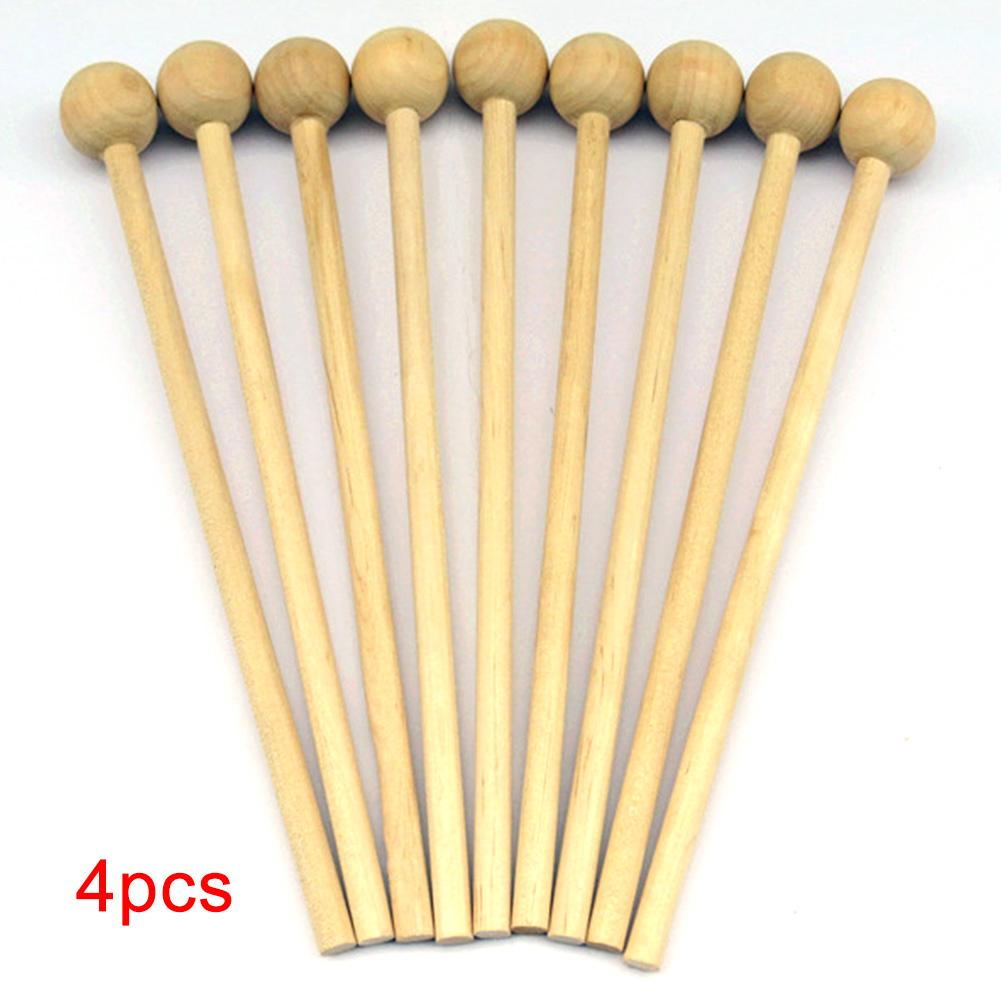4Pcs Instrument Percussion Chopsticks Mallet DIY Toy Handle Wood Musical Gift Sticks