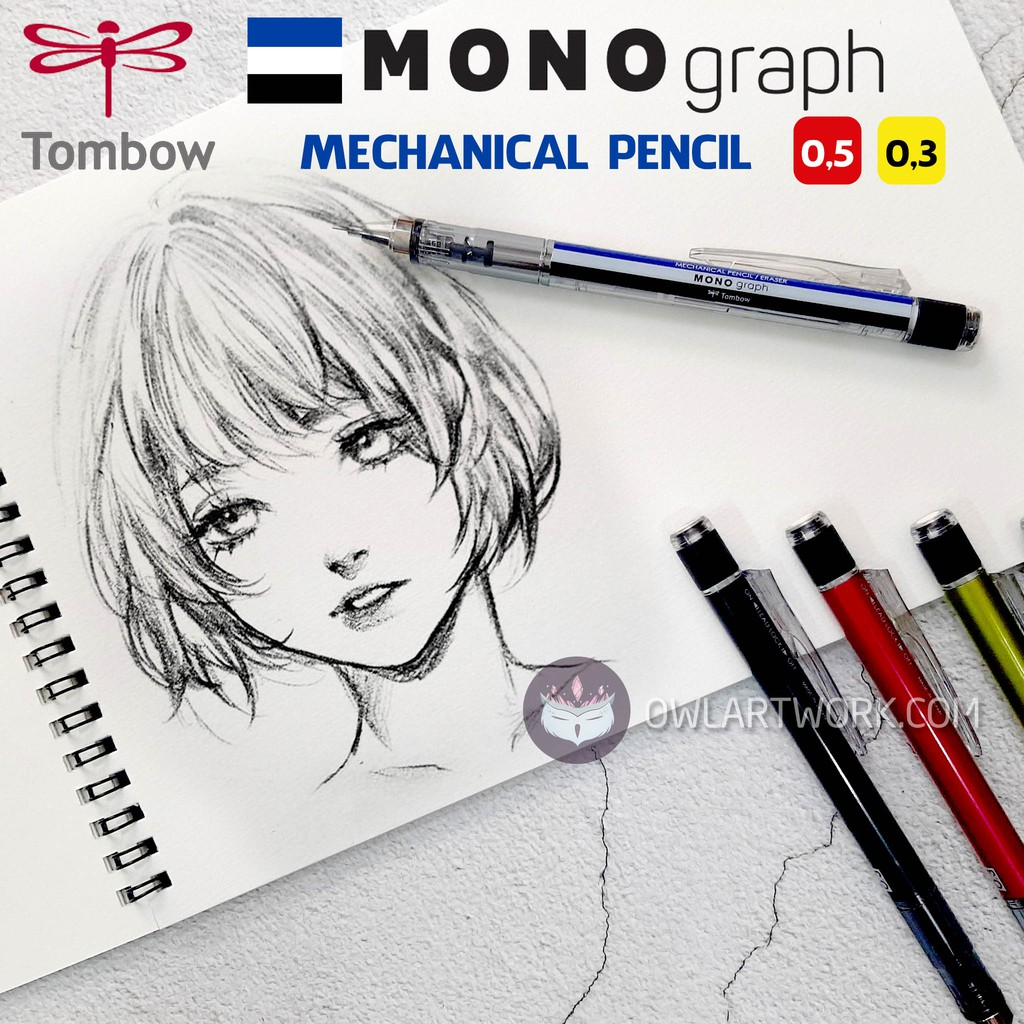 [CHÍNH HÃNG] Bút chì bấm cơ khí TOMBOW Mono Graph 0.5mm cao cấp Nhật Bản