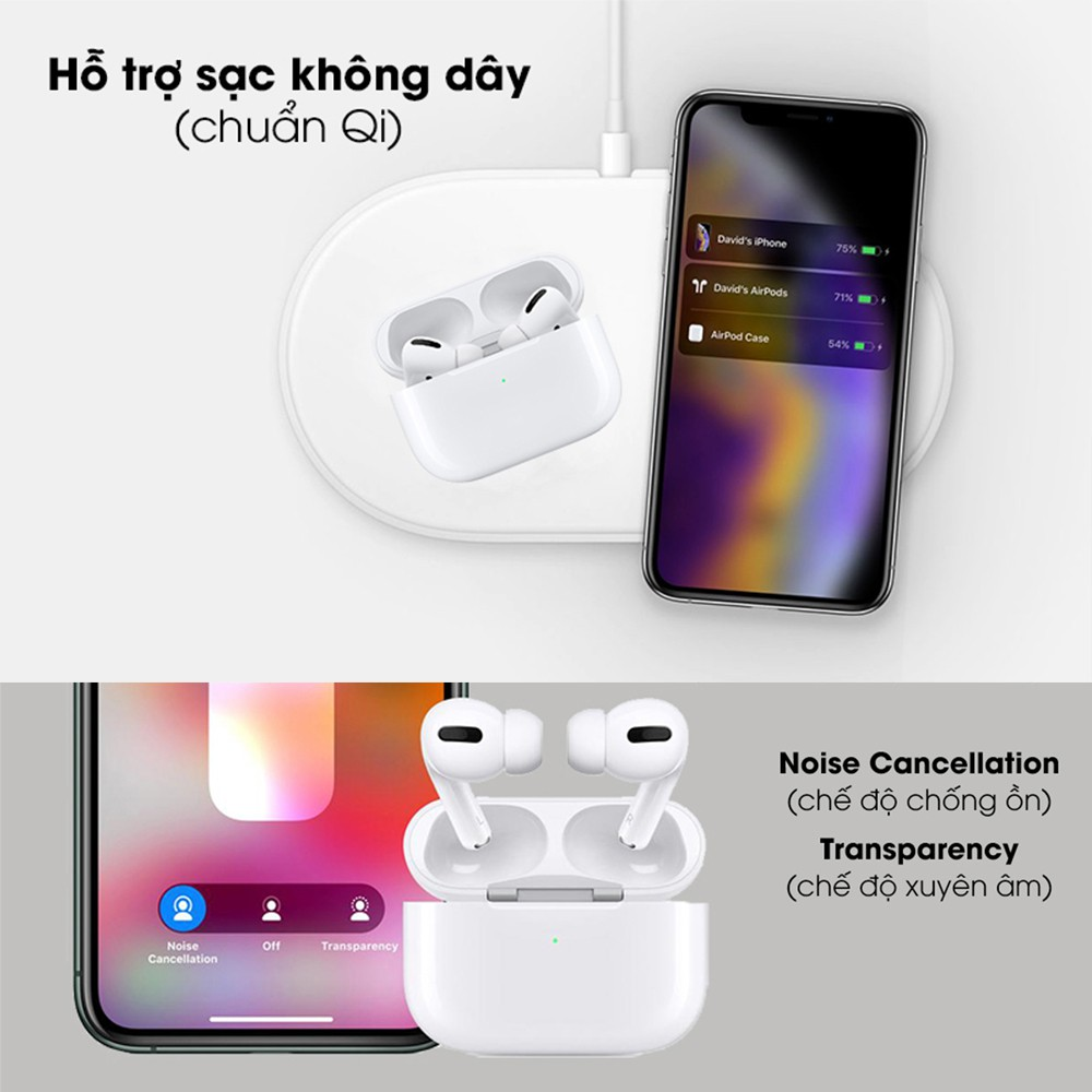 Tai nghe Airpods 2, Airpods Pro Bluetooth 5.0 - Sạc Không Dây - Cảm biến tháo tai dừng nhạc, pin 5h, Bảo hành 1 đổi 1