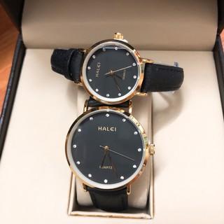 Cặp đồng hồ nam nữ HALEI máy Nhật chính hãng mặt tròn 39mm 28mm dây da cao cấp chống xước chống nước tuyệt đối HL542 thumbnail