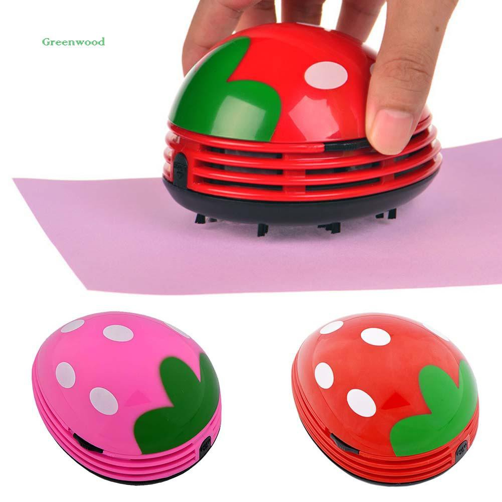 GREEN   Portable Mini Strawberry Home Desktop Coffee Table Vacuum Cleaner Dust Collector