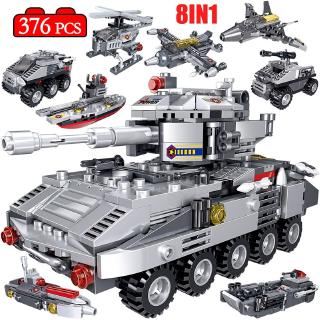 376PCS Wheeled Armored Tank Model Building Blocks legoingly Military WW2 Car Turck Police Soldier Figures Bricks Toys