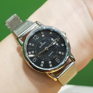 Đồng hồ nữ QB dây lụa kim loại màu bạc mặt đen có lịch chống nước cao cấp Tony Watch 68 thumbnail
