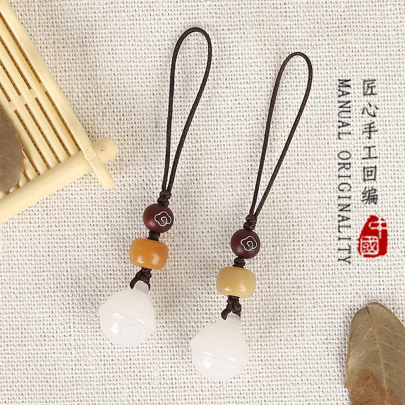 ✌Craftsmanship back up mobile phone pendant handmade white jade Bell short u disk lanyard bag chain girl