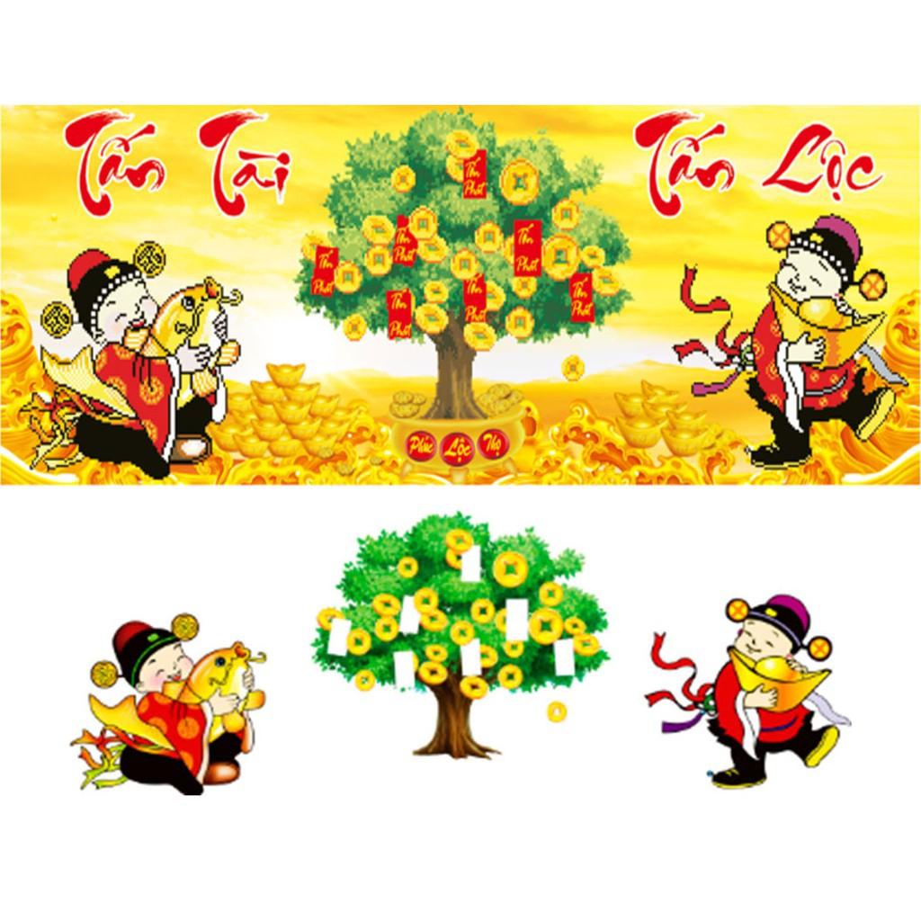 Tranh gắn đá cây tài lộc Tấn Tài Tấn Lộc YN5002