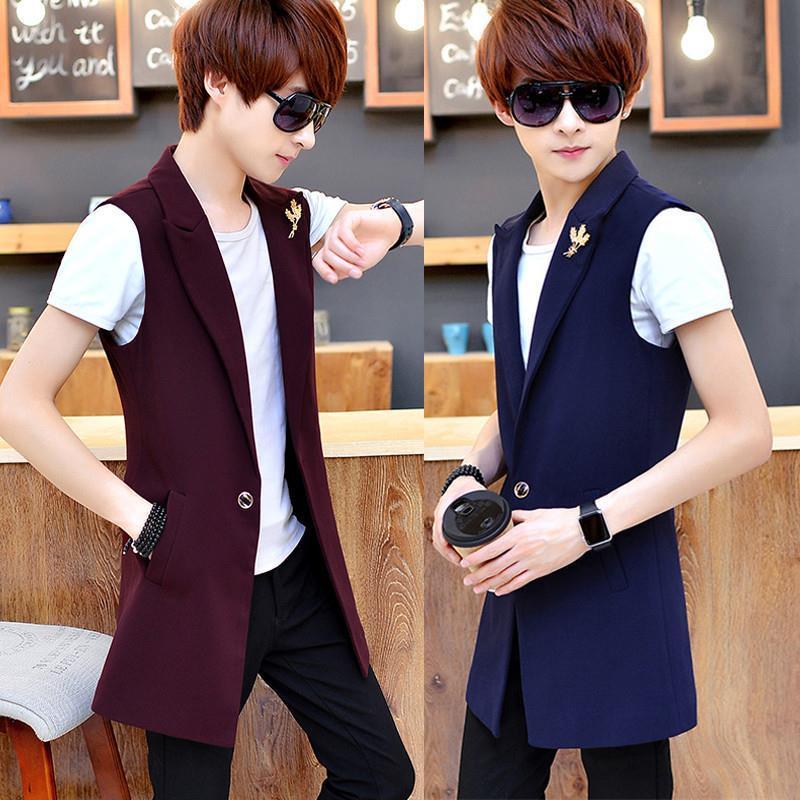 Áo khoác Vest dáng dài chất vải mỏng thiết kế lịch lãm cho nam