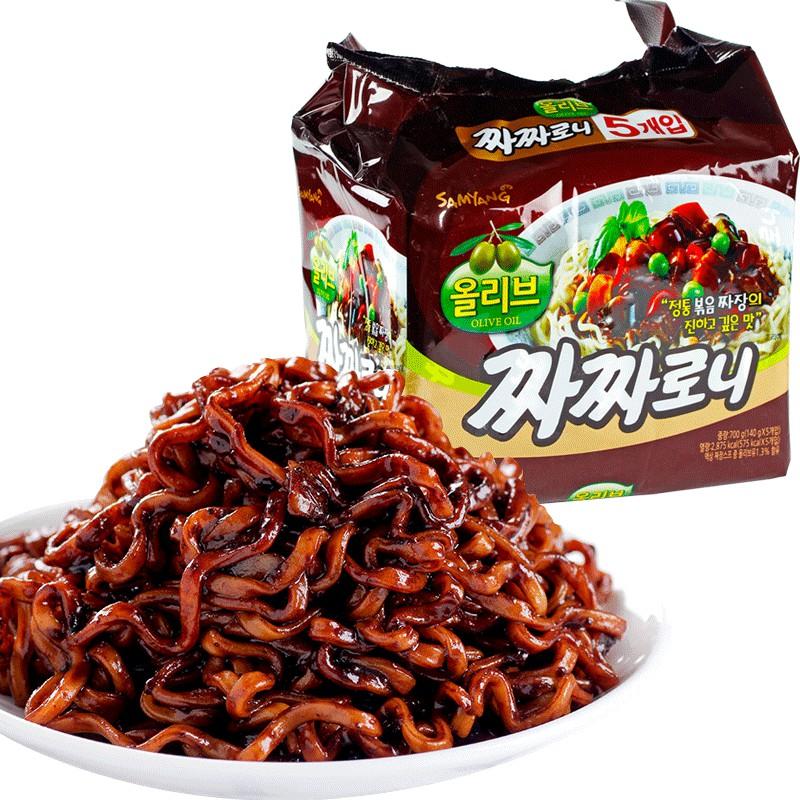 ( Bán sỉ ) Lốc 5 gói Mì trộn tương đen Samyang gói 140gr
