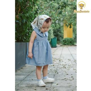 Đầm sát nách cho bé cổ sen vải cotton xanh họa tiết hoa nhí (vải tốt - may kĩ)