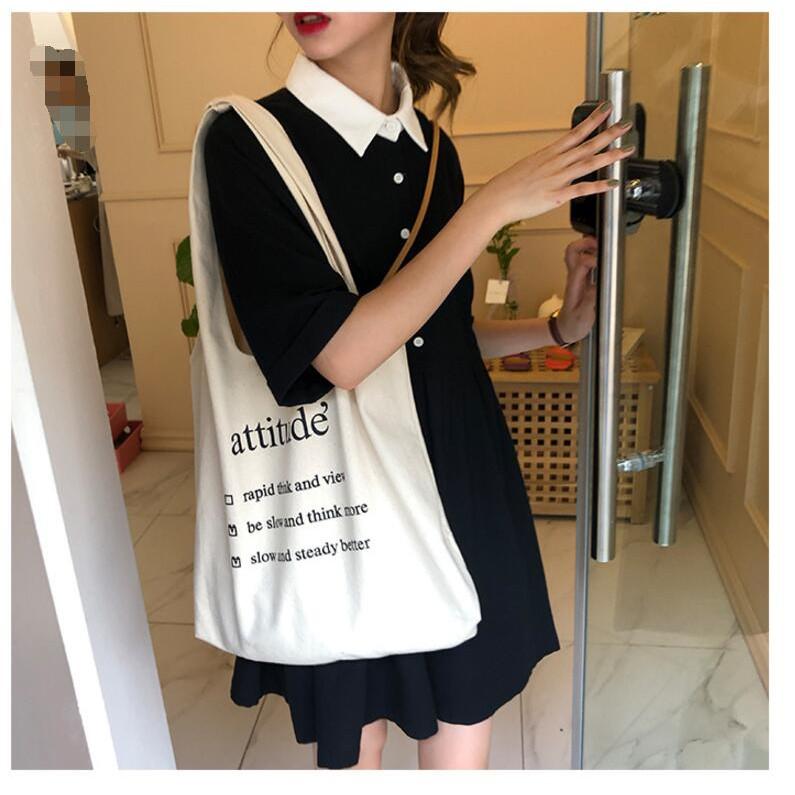 Túi tote vải Attitude kiểu đeo vai nữ Hàn Quốc