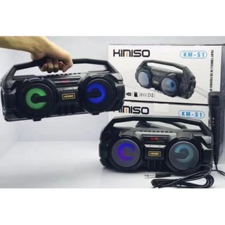 Loa Bluetooth Karaoke Xách Tay Kimoso KM-S1(Đen) Tặng Kèm 1 Mic Hát Có Dây Cắm Trực Tiếp