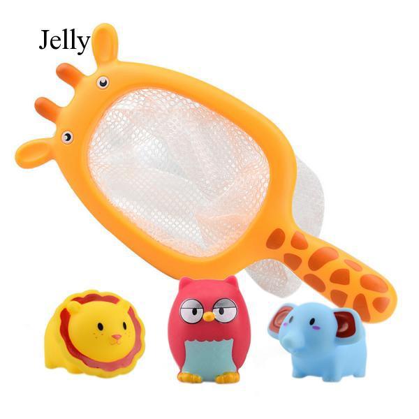 4 PCS Cute Cartoon Kids Animal Bath Floating Game Toy + Catching Net Set J95