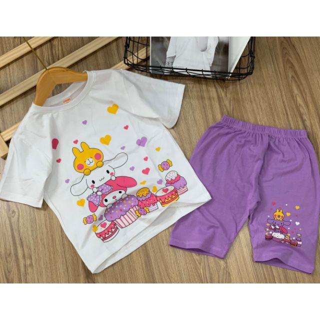 HOT HIT - Bộ lửng cotton màu cho bé gái 22 đến 40kg - Bộ quần áo bé gái