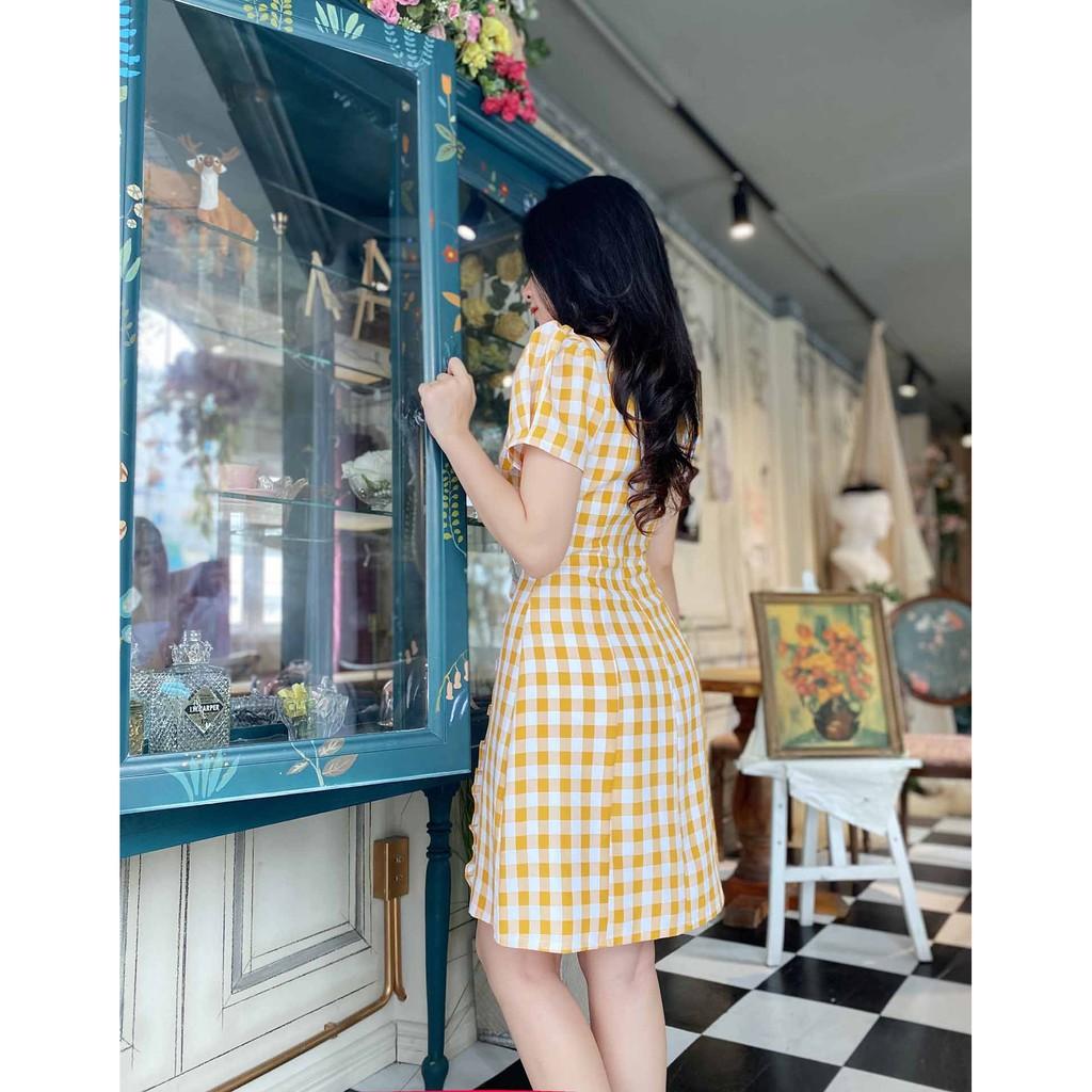 Mặc gì đẹp: Sang trọng với Đầm công sở nữ caro cam thiết kế cổ vuông dáng xòe tay ngắn mềm mát thoải mái (váy thời trang công sở dạo phố)