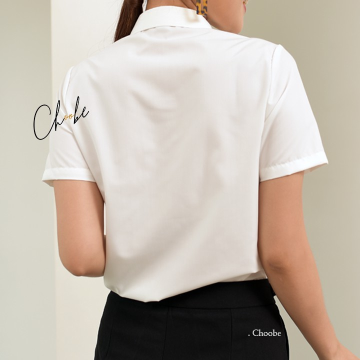 Mặc gì đẹp: Lịch sự với Áo sơ mi nữ Choobe tay ngắn form suông màu trắng xanh sơmi cộc thời trang công sở A02