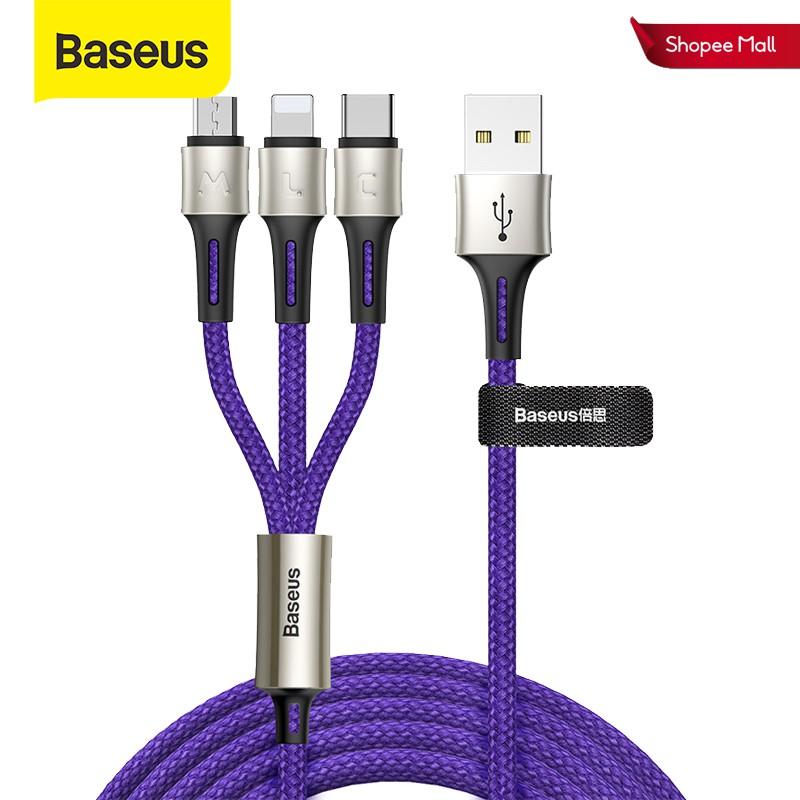 Dây cáp sạc Baseus Type-C micro USB 3.5A 3 trong 1 cho điện thoại