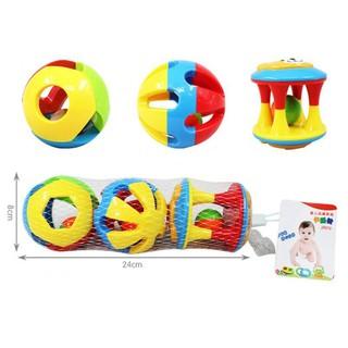🍀babyzone🍀3pcs Baby Rattles Toy Fun Little Loud Jingle Ball Ring Develop Baby Intelligence