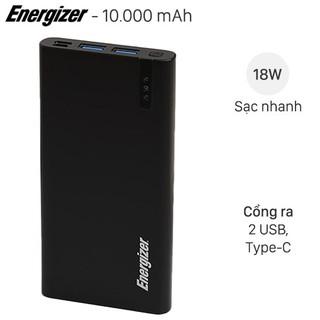 Pin sạc dự phòng Polymer 10000mAh Type C PD QC3.0 Energizer UE10047PQ Đen