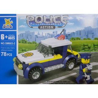 Gạch xếp hình non lego – xe cảnh sát & máy bay