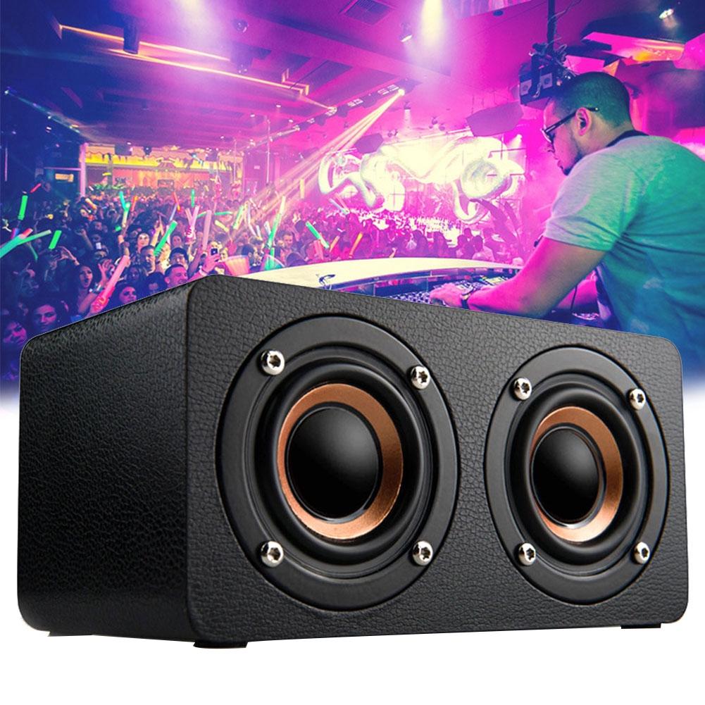 M5 Outdoor Sound Box Speaker Portable Dual Stereo Wireless FM Radio Wooden Bluetooth Bass