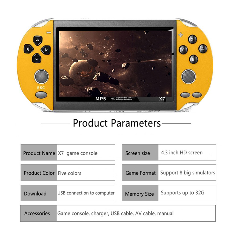 Máy Chơi Game, Tặng Tai Nghe Máy Có Sẵn Hơn 9000 Trò Chơi Arcade GBA PSP X7  - Hỗ Trợ Lắp Thẻ 8G - Copy Thêm Game chính hãng 549,000đ
