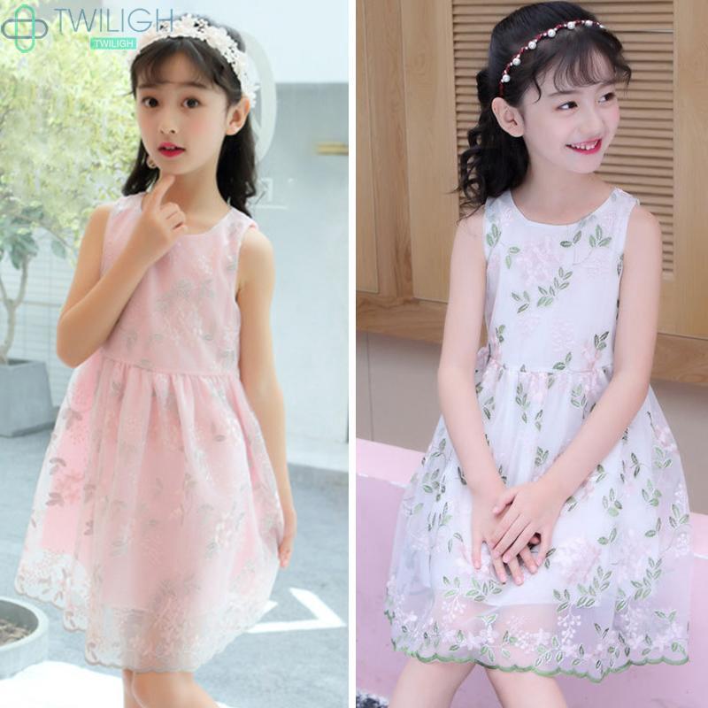 Đầm xoè thêu hoa dễ thương cho bé gái