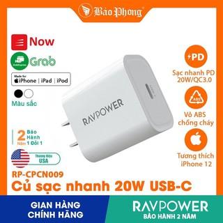 Củ Sạc nhanh PD 20W RAVPower RP- CPCN009 cho iPhone iPad IP 12 11 Pro Max xs x 8 Plus 7 6 5 Samsung Oppo Xiaomi cốc cóc