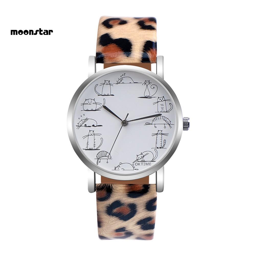 Đồng hồ mặt in hình mèo dễ thương dây giả da dành cho nữ