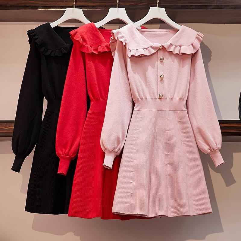 Đầm cổ bẻ size lớn thiết kế đáng yêu phong cách retro Pháp