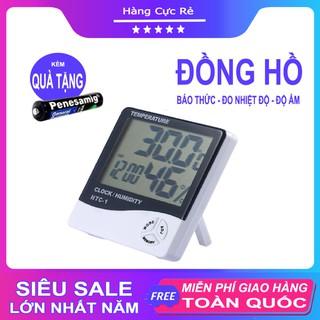 Đồng hồ để bàn đo nhiệt độ, độ ẩm phòng - Phiên bản nâng cấp hiện đại có báo thức - Tặng kèm pin AAA - Shop Hàng Cực Rẻ