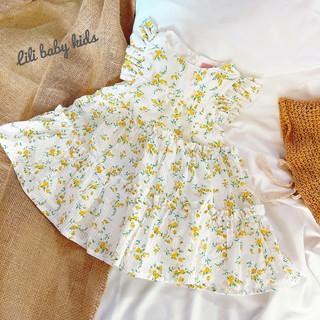 váy bé gái RIO- váy bé gái hoa nhí cánh tiên  chất thô đũi mềm mát hàng có sẵn