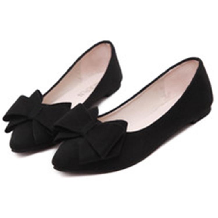 Giày Búp Bê Mũi Nhọn Đính Nơ Xinh Xắn Cho Nữ