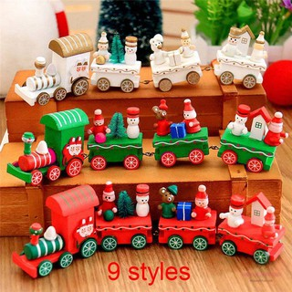 Mini Christmas Wooden Train Tree Wood Ornament Decoration Xmas Children Kid Toy Vehicles Gift