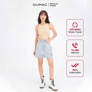 Chân váy jean phối túi GUMAC VJB6118