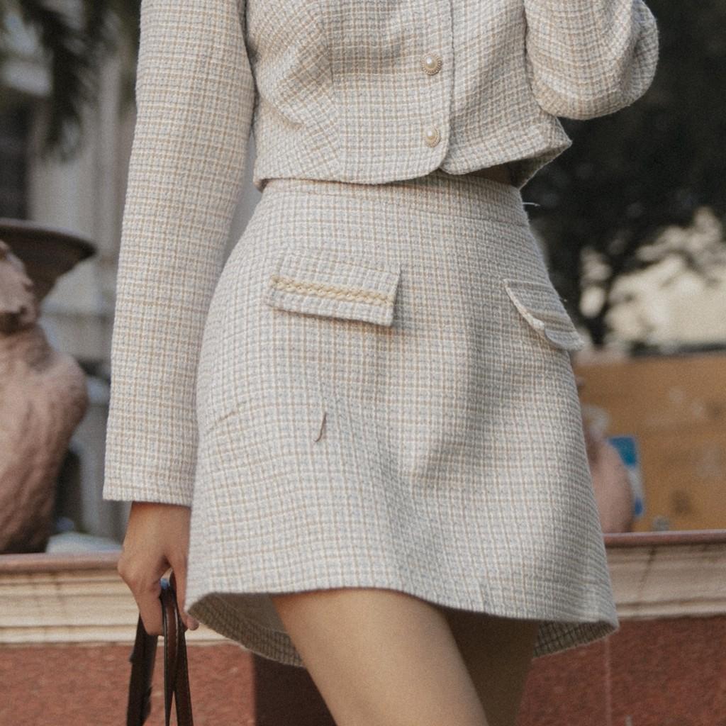 EIRLYS SKIRT - Chân váy tweed may nắp túi.
