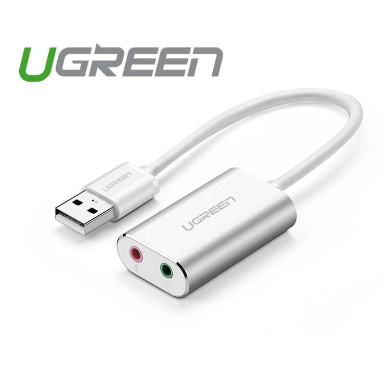 Dây USB 2.0 mở rộng sang đồng thời 2 cổng 3.5mm UGREEN cho tai nghe + mic không cần driver (Màu bạc