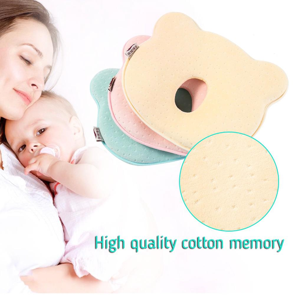 Baby Cot Pillow Soft Cut Preventing Flat Head Neck Syndrome Plagiocephaly