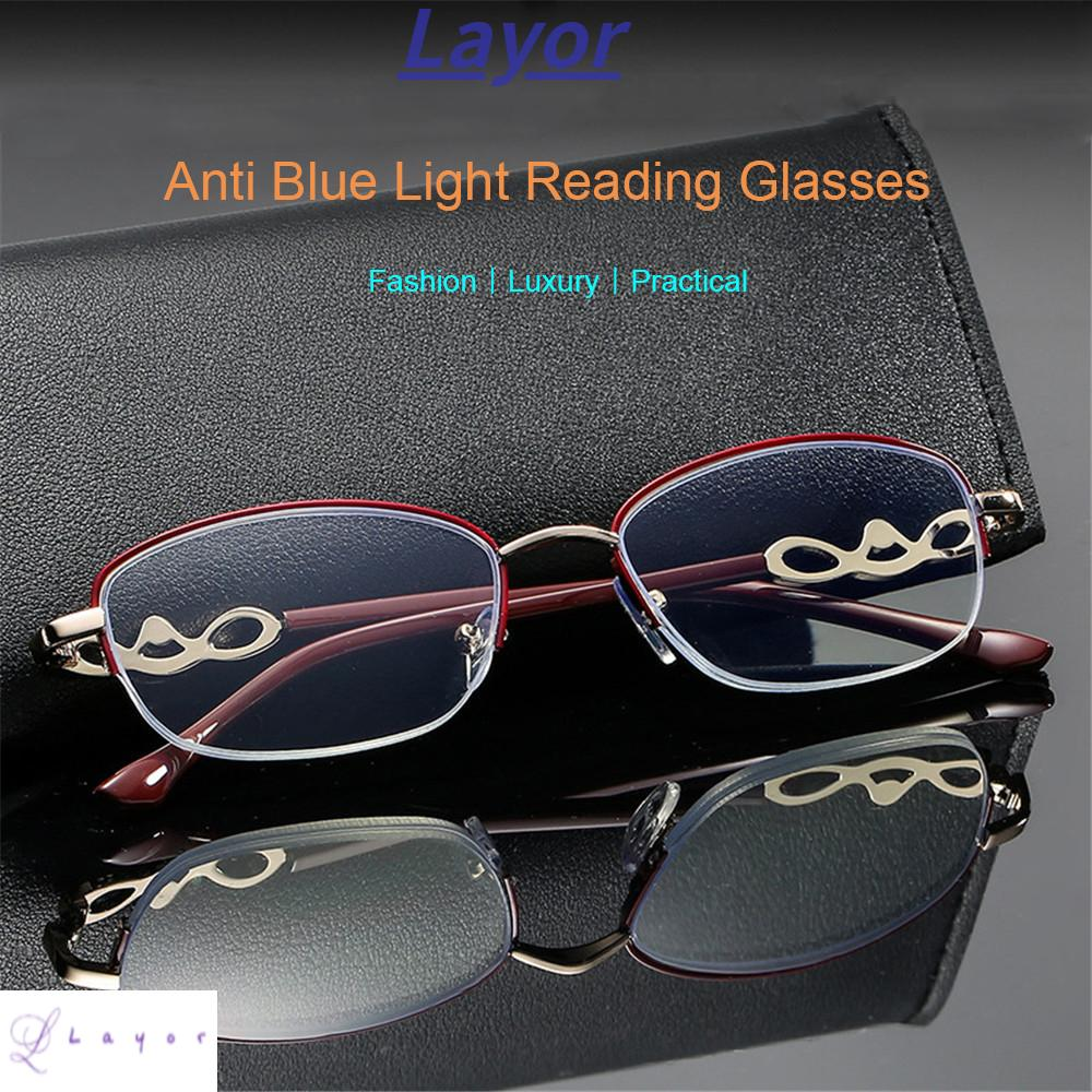 💜LAYOR💜 Luxury Anti Blue Light Reading Glasses Radiation Protection Metal Frame Eyewear Presbyopic Eyeglasses Anti-UV Women Fashion Transparent Anti-fatigue Computer Goggles