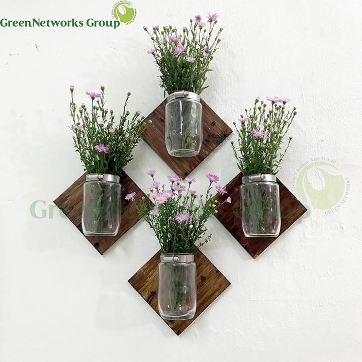 Bình hoa trang trí nội thất điểm nhấn trên tường phong cách Rustic Hanging Mason Jar GnG interiors