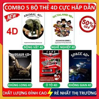 Combo 5 bộ thẻ 4D, thẻ học thông minh ANIMAL, DINOSAUR, SPACE, OTALAND và CARS 4D – SHOP CU BIN