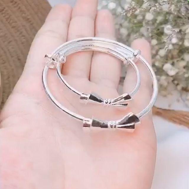 vòng tay bạc đôi mẹ và bé bạc ta 925 hình nơ xinh