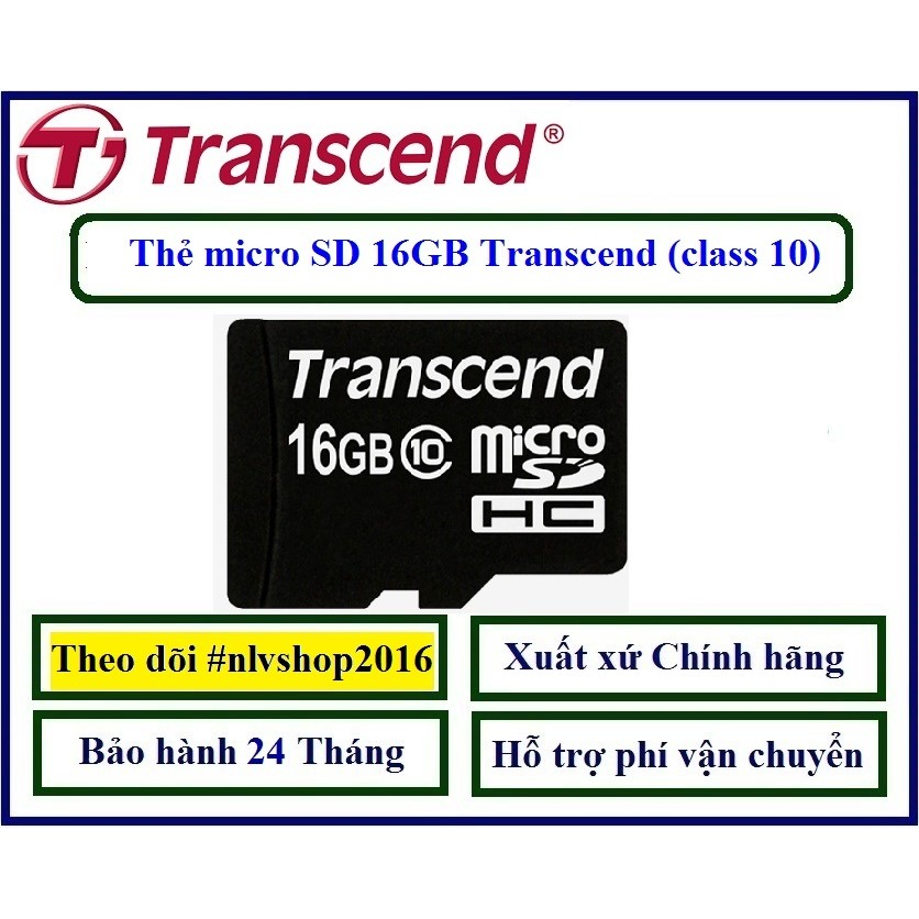 Thẻ nhớ 16GB micro SD Transcend (class 10) Hãng phân phối