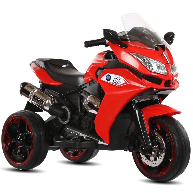 Xe máy điện moto 3 bánh NEL 1300GS đồ chơi đạp ga cho bé bảo hành 6 tháng (Đỏ-Xanh-Trắng)