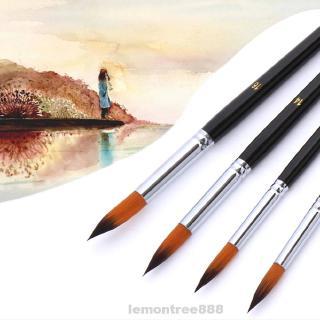 9pcs/Set Paint Brush Nylon Oil Painting Watercolor Accessories Art Supplies Lightweight Pen Professional Wood Handles